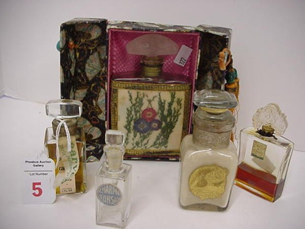 5: 5 Vintage Glass Designer Fragrance Perfume Bottles: