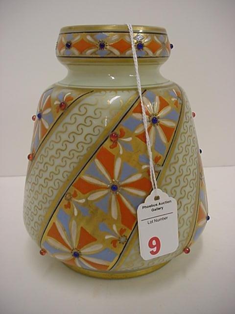 9: Hand Painted Luminous Custard Glass Jeweled Vase: