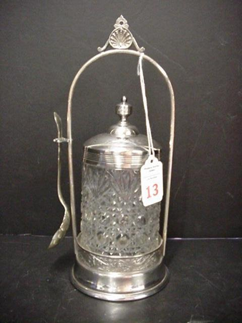 13: 1800's Silverplate and EAPG Pickle Castor: