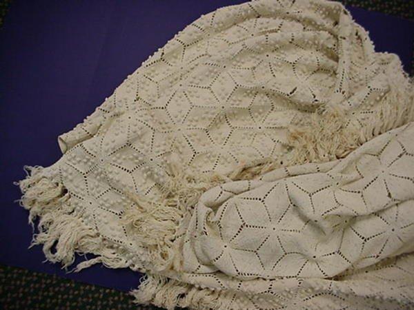 21: Hand Crocheted Vintage Popcorn Stitch Bedspread: