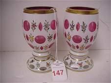 147 White Enamel Cut to Cranberry Bohemian Glass Vases