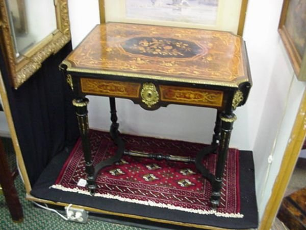 226: Single Drawer French Inlaid Marquetry and Burl Tab