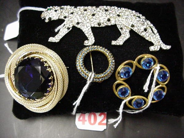 402: 4 Glass Stone and Rhinestone Pins: