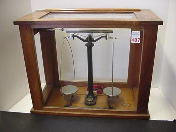 407: Knott Boston Scales in Glass Case: