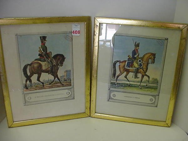 408: 2 Handcolored Vintage French Military Prints: