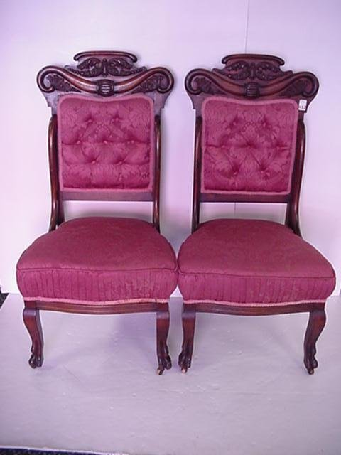 412: Pair of Carved Crest Mahogany Side Chairs: