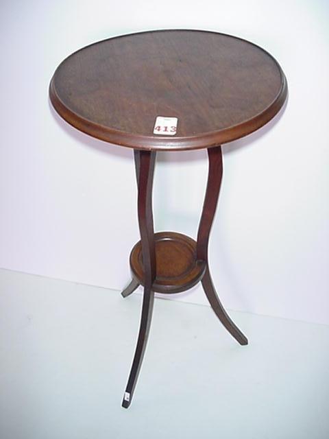 413: 2 Tiered Tripod Leg Mahogany Round Plant Stand:
