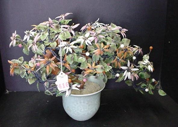 416: Multi-Hued Jade Bonsai Tree in Vase: