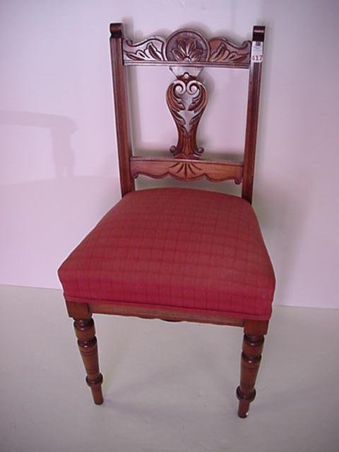 417: Cherry Side Chair with Carved Crest and Splat: