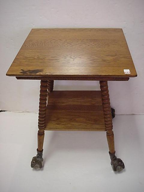 422: Oak Parlor Table with Glass Ball and Talon Feet: