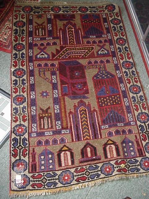 423: Handloomed Wool Persian Prayer Rug: