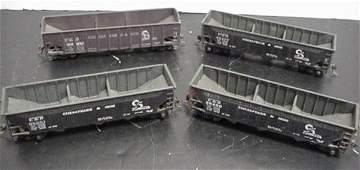 594: Four HO Scale C and O 70 Ton Coal Hopper Cars: