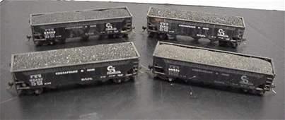 595: Four HO Scale C and O 70 Ton Coal Hopper Cars: