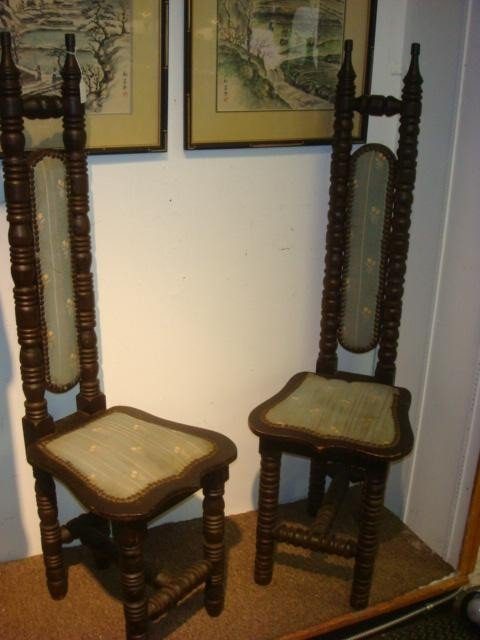 6: Two Spanish Turned Frame Narrow Side Chairs: