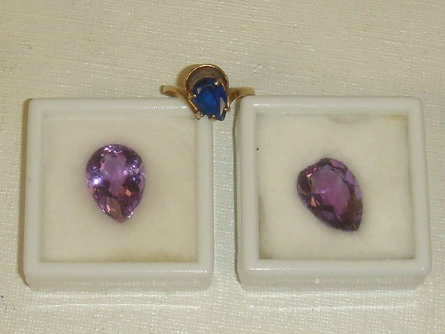 7: Two Amethysts and Blue Stone 10K Ring: