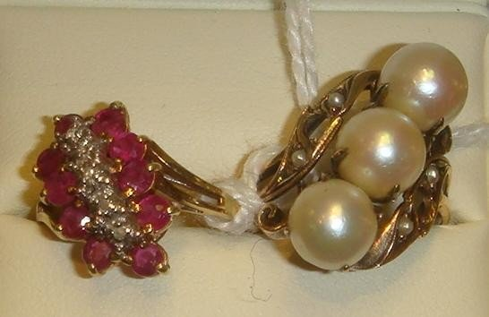 10: Two 14K Gold Rings, Ruby, Diamonds and Pearls: