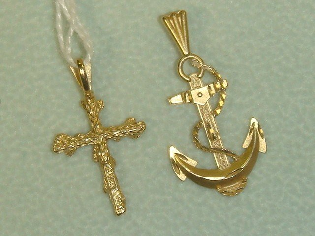 10A: Three 14K Gold Charms:
