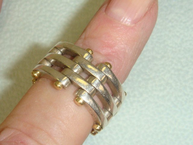 10B: TIFFANY & CO 18K Gold and Sterling Ring: