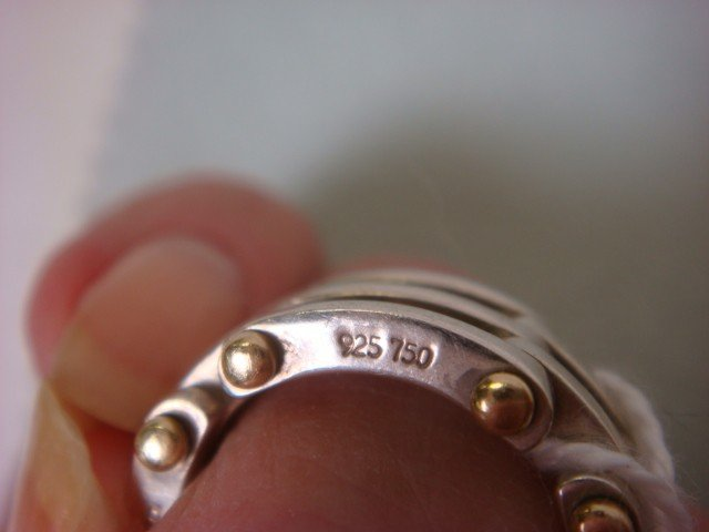 10B: TIFFANY & CO 18K Gold and Sterling Ring: - 4