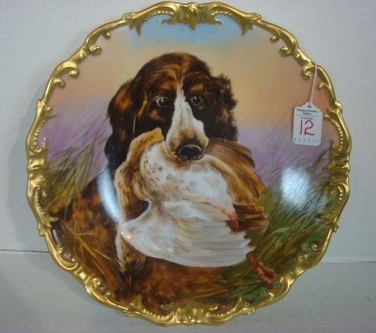 12: LIMOGES France Handpainted Dog Plaque: