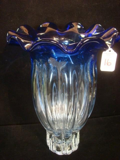 16: Lobed Clear Glass Vase with Ruffled Cobalt Rim: