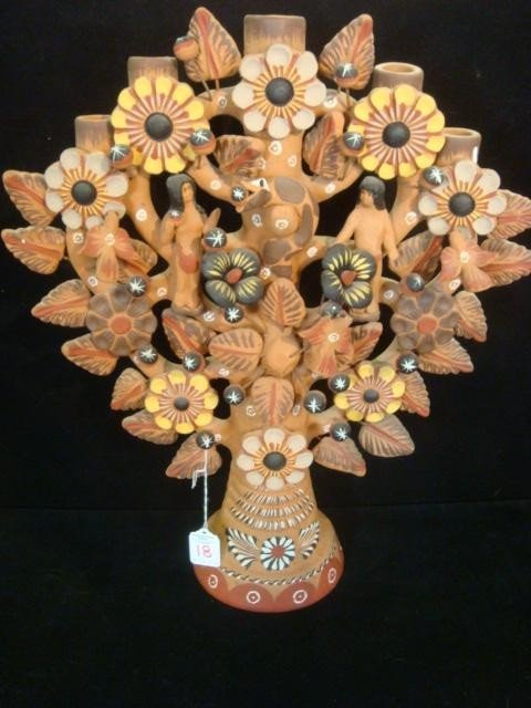 18: Five Arm Mexican Clay Story Book Candelabra: