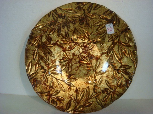 20: Contemporary Italian Gold Leaf Glass Center Bowl: