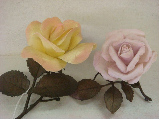 22: Two BOEHM Limited Issue Porcelain Roses: