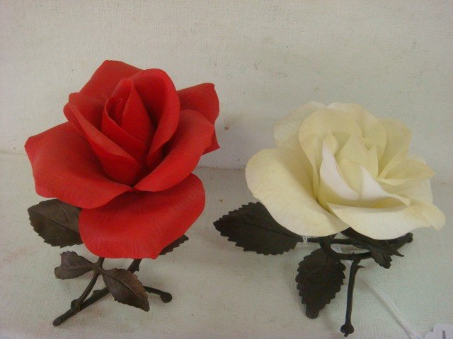 23: Two BOEHM Limited Issue Porcelain Roses: