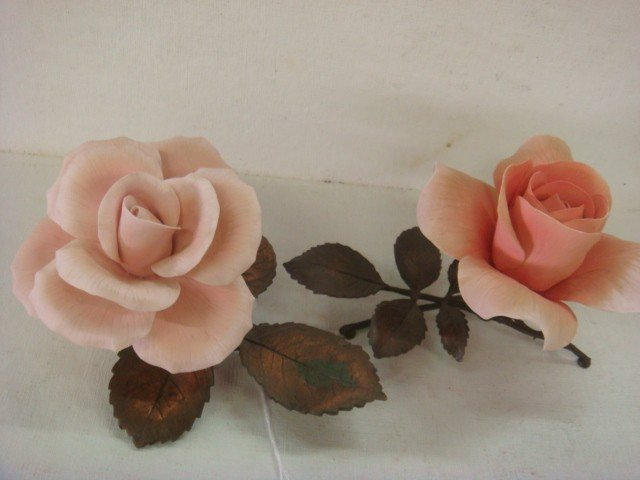 24: Two BOEHM Limited Issue Porcelain Roses: