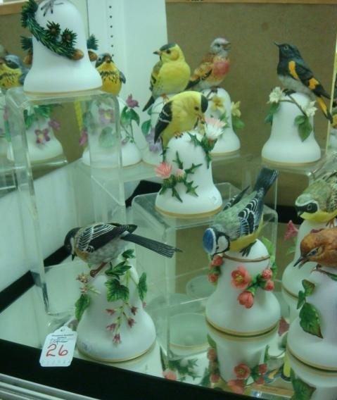 26: Ten PETER BARRETT Porcelain Bird Bells with Flowers