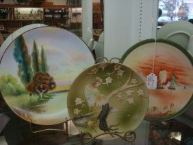 Three Hand Painted NIPPON Porcelain Plaques: