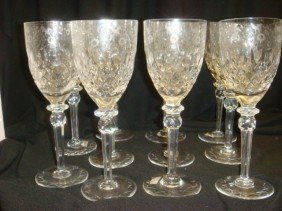 Ten Lead Crystal Yugoslavia White Wine Stems: