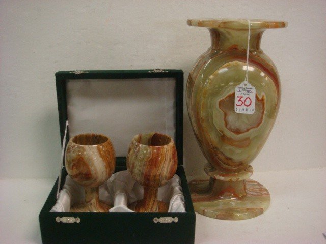 30: Hand Turned Onyx and Agate Vase and Pair of Goblets