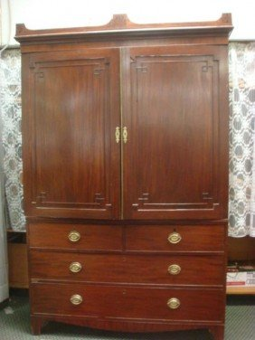 19th C Mahogany 2 Piece Linen Press: