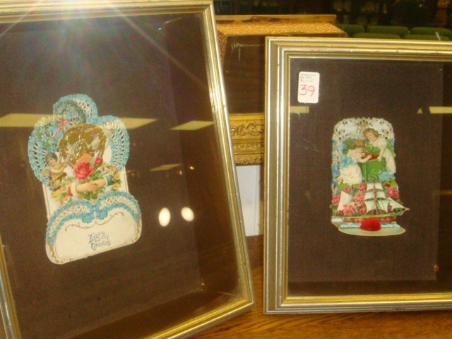 39: Two Victorian Pop Up Valentines in Shadowbox Frames