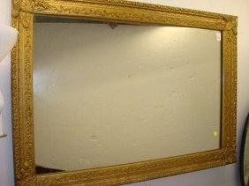 Plate Wall Mirror In Gesso Carved Gold Frame: