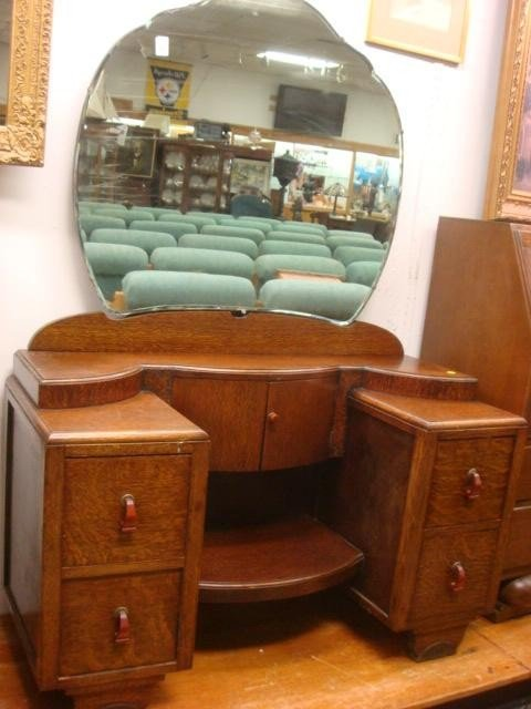 42: Four Drawer Oak Deco Vanity with Mirror:
