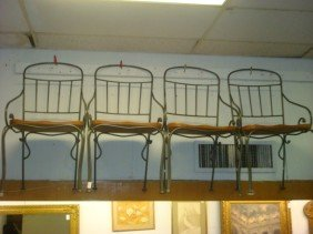 Set Of 4 Wrought Iron Based Side Chairs: