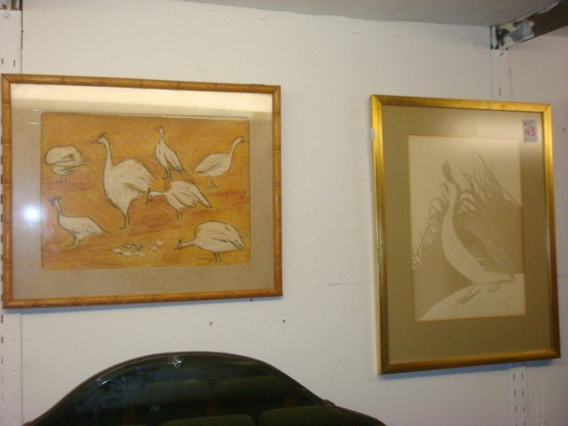 43: Duck Print and Pastel White Turkeys on Paper: