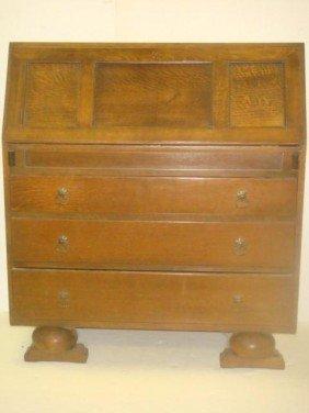 Oak Secretary Desk With Side Bookcase CA 1880-1900: