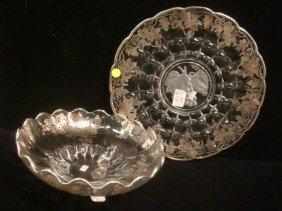 Silver Overlay Charger And Center Bowl: