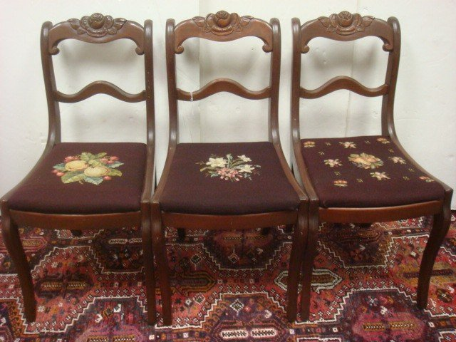 53: Three Rose Carved Mahogany Side Chairs: