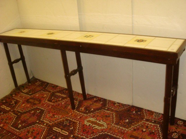 54: Mahogany Sofa Table with Inset Tile Top:
