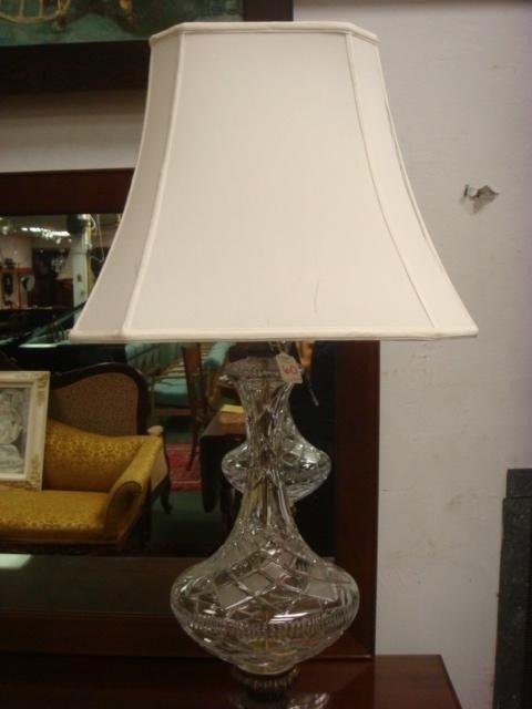 60: Cut Crystal Metal Base Table Lamp, Paneled Shade: