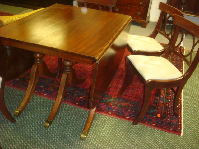 65: Mahogany Drop Leaf Table with 4 Side Chairs: