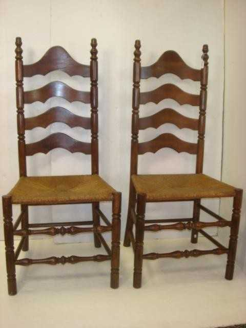 96 Pair Of Rush Seat Ladder Back Chairs