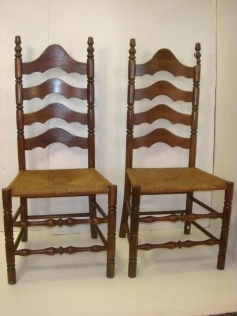 Pair of Rush Seat Ladder back Chairs