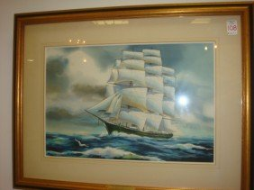 DONALD MOSHER Sailing Ship Watercolor On Paper: