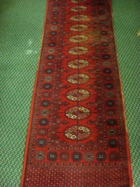 Handloomed All Wool Antique Runner Rug: